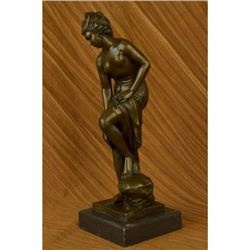Large Nude Youthful Sexy Woman Bronze Sculpture Signed Original Erotic Art Deco