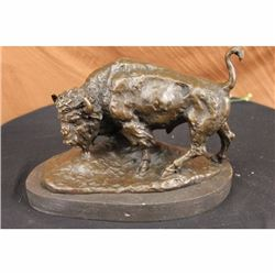 Signed American Buffalo Bull Bronze Sculpture on Marble Base by Barye Figure