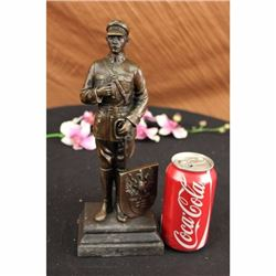 Russian Emperor Guard with Eagle Symbol Bronze Sculpture Marble Base Figure