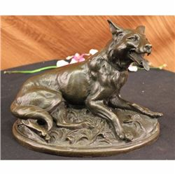 VINTAGE BRONZE GERMAN SHEPARD DOG STATUE SCULPTURE