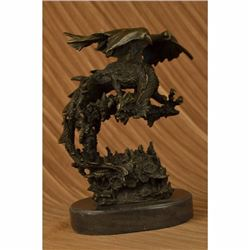 Signed Original Mythical Flying Dragon Bronze Sculpture Statue