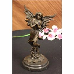Jean Patoue Young Fairy Clutches Giant Heart Bronze Statue