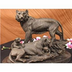 Large Lion Cougar Tiger Family Bronze Marble Sculpture Statue Figurine Art