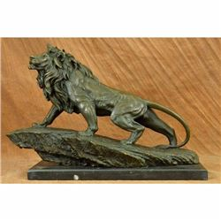Extra Large Wild African Lion on Prowl Wildlife Safari Bronze Sculpture by Barye