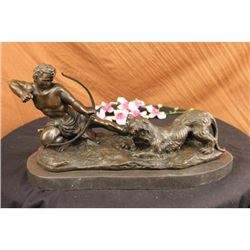 Signed Milo Man With Bow and Arrow Striking Lion Bronze Sculpture