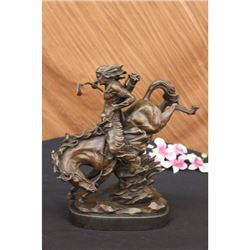50 LBS Old West Cowboy Rodeo Gun Horse Bronze Statue NR