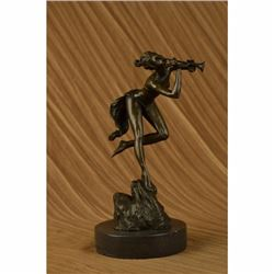 Original Vitaleh Sexy Nude Wood Nymph Playing Flute Bronze Sculpture Statue SALE