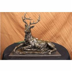 Bronze Marble Statue Elk Stag Buck Deer Lodge Decor Art