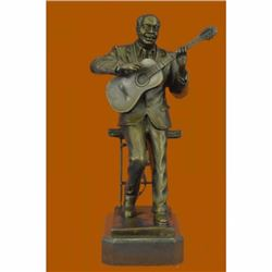 Art Deco Large Black American Music Musician Guitar Player Jazz Bronze Statue