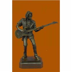 Signed Handcrafted Rick James Guitar Player Bronze Sculpture Figurine Statue NR
