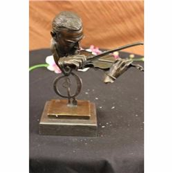 Signed Milo Abstract Man Playing Violin Bronze Bust Sculpture Marble Statue