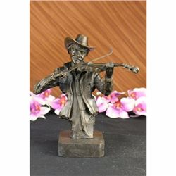 Cowboy Playing Violin Fiddle Music Bronze Sculpture Marble Statue