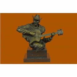 Art Deco Large Dali Music Musician Guitar Player Jazz Bronze Figurine Statue NR