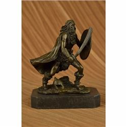 Bronze European Warrior with Sword Sculpture Rare Marble Base Figurine Home Deco