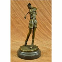 Signed Milo Female Golfer Tournament PGA Golf Golfing Trophy Bronze Sculpture NR