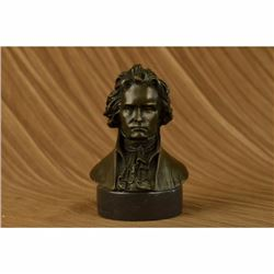 Signed Original Famous Composer Beethoven Bronze Sculpture Marble Base Statue NR