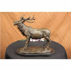 Bronze Marble Statue Elk Deer Stag Hunter Wildlife Art