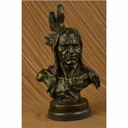 NATIVE AMERICAN INDIAN WARRIOR CHIEF 100% BRONZE ON MARBLE SCULPTURE STATUE ART