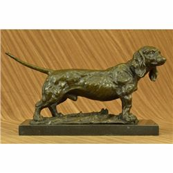 Large Basset Hound Dog Art Deco Bronze Sculpture on Marble Base Figurine Figure