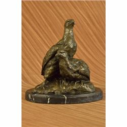 Signed Original 100% Real Bronze Two Baby Eagles Eagle Sculpture Statue Figurine