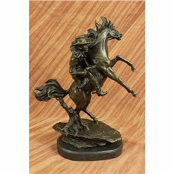 Signed Western Cowboy with Bucking Horse Bronze Sculpture Marble Base Figurine