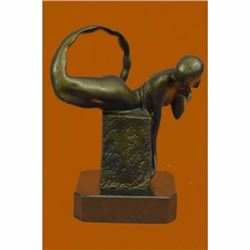 Handcrafted Art Deco Nude Naked Erotic Mermaid Bronze Sculpture Lost Wax Deal