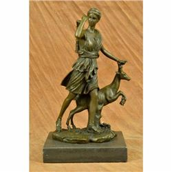 Signed Art Deco Mythical Diana the Hunter with Stag Deer Bronze Sculpture Statue