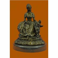 Large Stunning Bronze Sculpture Victorian Lady with Dog Hot Cast Statue Figurine