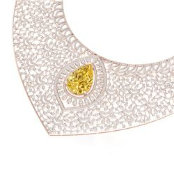 59.27 CTW Royalty Canary Citrine & VS Diamond Necklace 18K Rose Gold - REF-2454Y5N - 39583