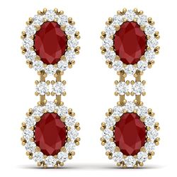 8.98 CTW Royalty Designer Ruby & VS Diamond Earrings 18K Yellow Gold - REF-218X2T - 38813