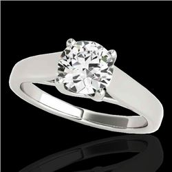 1.5 CTW H-SI/I Certified Diamond Solitaire Ring 10K White Gold - REF-332H4W - 35534