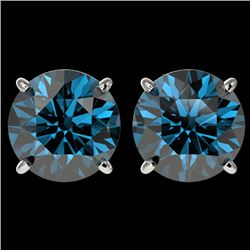 4 CTW Certified Intense Blue SI Diamond Solitaire Stud Earrings 10K White Gold - REF-824R2K - 33137