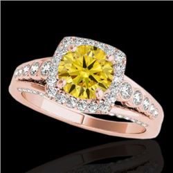 2 CTW Certified Si Fancy Intense Yellow Diamond Solitaire Halo Ring 10K Rose Gold - REF-247M3F - 343
