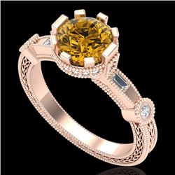 1.71 CTW Intense Fancy Yellow Diamond Engagement Art Deco Ring 18K Rose Gold - REF-263R6K - 37862