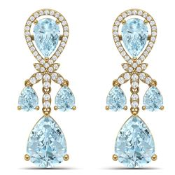 40.01 CTW Royalty Sky Topaz & VS Diamond Earrings 18K Yellow Gold - REF-290X9T - 38615