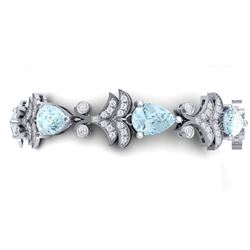26.1 CTW Royalty Sky Topaz & VS Diamond Bracelet 18K White Gold - REF-381F8M - 38739