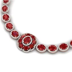 79.27 CTW Royalty Ruby & VS Diamond Necklace 18K Rose Gold - REF-1309Y3N - 39223
