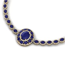 43.54 CTW Royalty Sapphire & VS Diamond Necklace 18K Yellow Gold - REF-927K3R - 39281