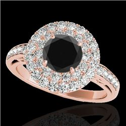 2.25 CTW Certified Vs Black Diamond Solitaire Halo Ring 10K Rose Gold - REF-124H8W - 34206