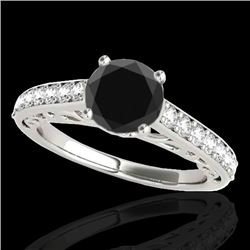 1.65 CTW Certified Vs Black Diamond Solitaire Ring 10K White Gold - REF-63W3H - 35026