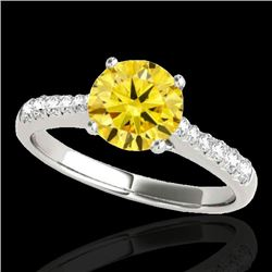 1.25 CTW Certified Si Fancy Intense Yellow Diamond Solitaire Ring 10K White Gold - REF-156H4W - 3482