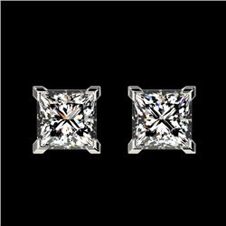 1 CTW Certified VS/SI Quality Princess Diamond Stud Earrings 10K White Gold - REF-143K6R - 33063