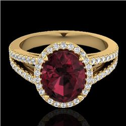 3 CTW Garnet & Micro VS/SI Diamond Certified Halo Solitaire Ring 18K Yellow Gold - REF-67H3W - 20942