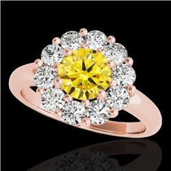 2.85 CTW Certified Si Fancy Intense Yellow Diamond Solitaire Halo Ring 10K Rose Gold - REF-354X5T -