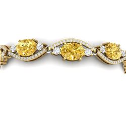 18.3 CTW Royalty Canary Citrine & VS Diamond Bracelet 18K Yellow Gold - REF-327N3Y - 38975