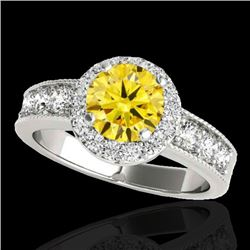 2.1 CTW Certified Si Fancy Intense Yellow Diamond Solitaire Halo Ring 10K White Gold - REF-227N3Y -