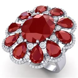 20.63 CTW Royalty Designer Ruby & VS Diamond Ring 18K White Gold - REF-327M3F - 39141