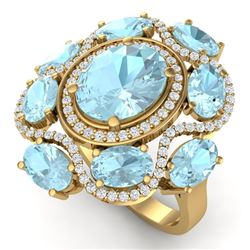 9.26 CTW Royalty Sky Topaz & VS Diamond Ring 18K Yellow Gold - REF-178K2R - 39305