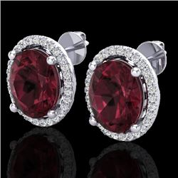 5 CTW Garnet & Micro Pave VS/SI Diamond Certified Earrings Halo 18K White Gold - REF-72R8K - 21056