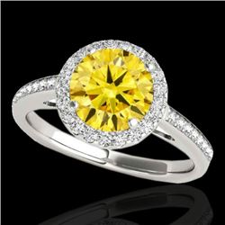 1.3 CTW Certified Si Fancy Intense Diamond Solitaire Halo Ring 2 Tone 10K White & Rose Gold - REF-17